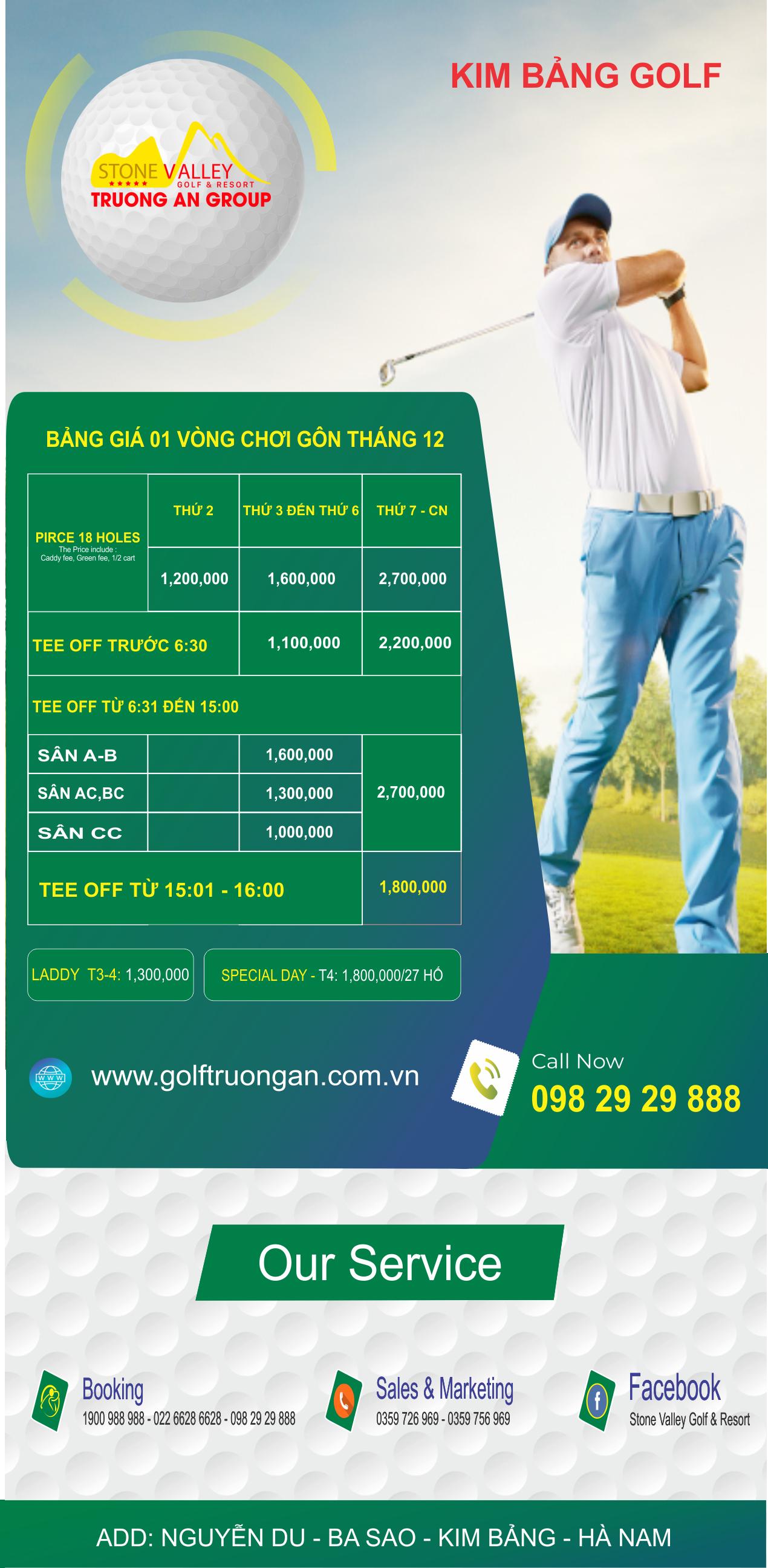 Bảng giá Golf tháng 12 năm 2020
